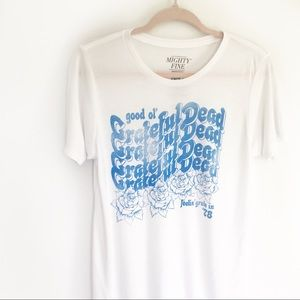 Mighty Fine White & Blue Grateful Dead Band Tee